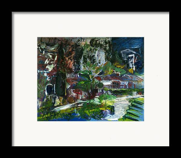 Landscape Framed Print featuring the painting Bellapais by Joan De Bot
