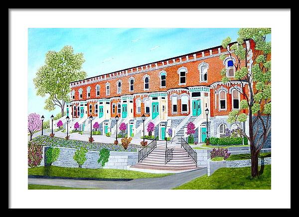 Belleville Ontario Buildings Painting Framed Print featuring the painting Bellevue Terace circa 1876 by Peggy Holcroft