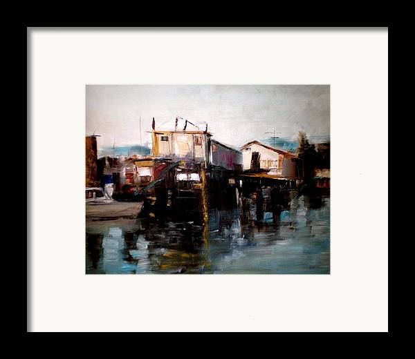 Water Framed Print featuring the painting Bellingham Boats by Renee Rowe