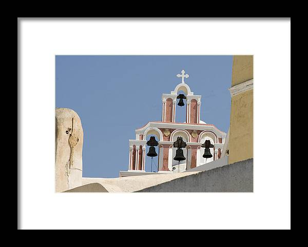 Greece Framed Print featuring the photograph Bells Of Santorini by Charles Ridgway