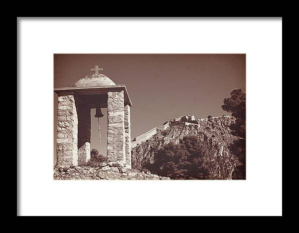 Belltower Framed Print featuring the photograph Belltower And Fortress Of Palamidi, Nafplio, Greece. Sepia. by Anna Finist