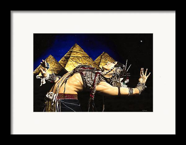 Bellydance Framed Print featuring the painting Bellydance Of The Pyramids - Rachel Brice by Richard Young
