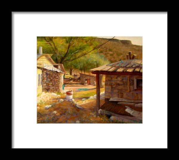 Realism Framed Print featuring the painting Below Taos 1 by Donelli DiMaria