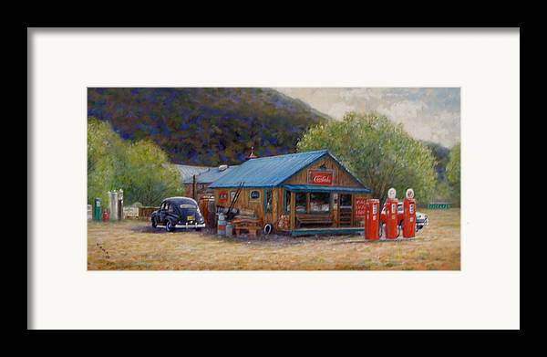 Realism Framed Print featuring the painting Below Taos 2 by Donelli DiMaria