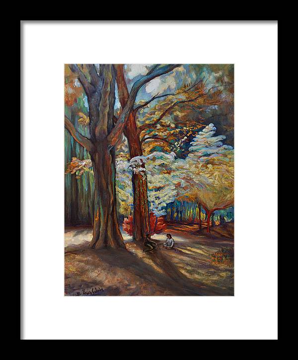 Trees Framed Print featuring the painting Below The Blossums by Maris Salmins