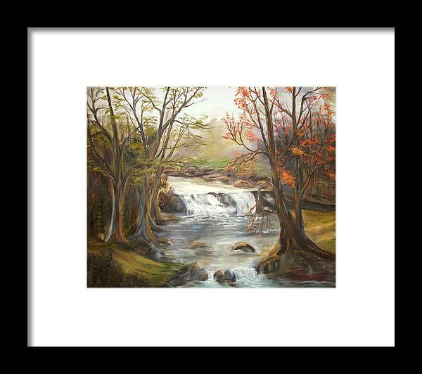 Landscape Framed Print featuring the painting Below the falls by Kenneth LePoidevin