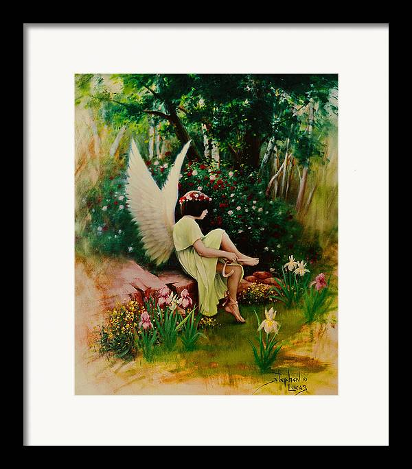 Angel Framed Print featuring the painting Beltaine Angel by Stephen Lucas