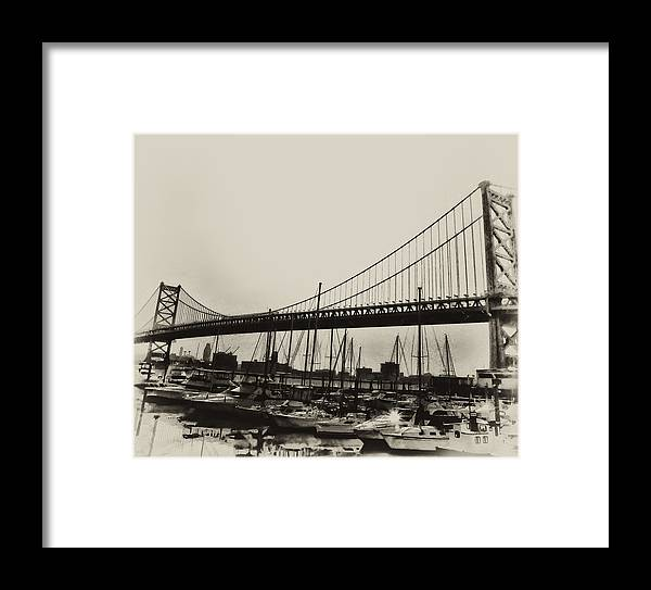 Philadelphia Framed Print featuring the photograph Ben Franklin Bridge From The Marina In Black And White. by Bill Cannon