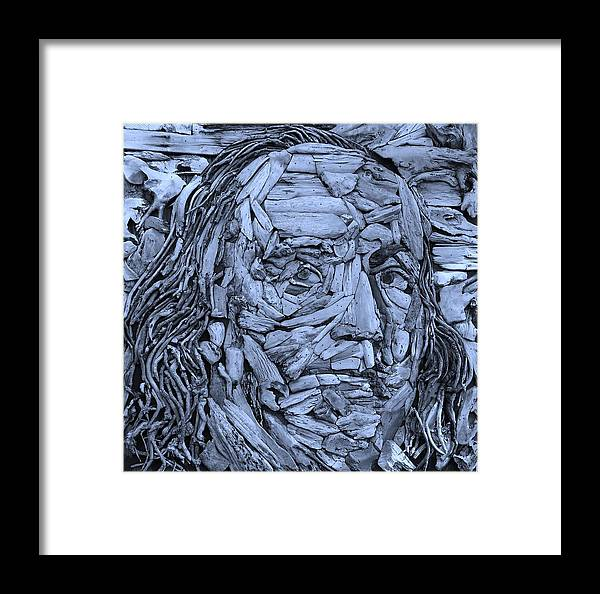 Ben Franklin Framed Print featuring the photograph Ben In Wood Cyan by Rob Hans