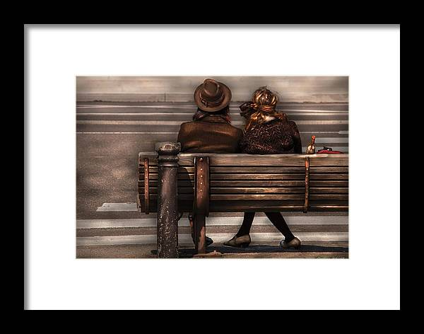 Steampunk Framed Print featuring the photograph Bench - A Couple Out Of Time by Mike Savad