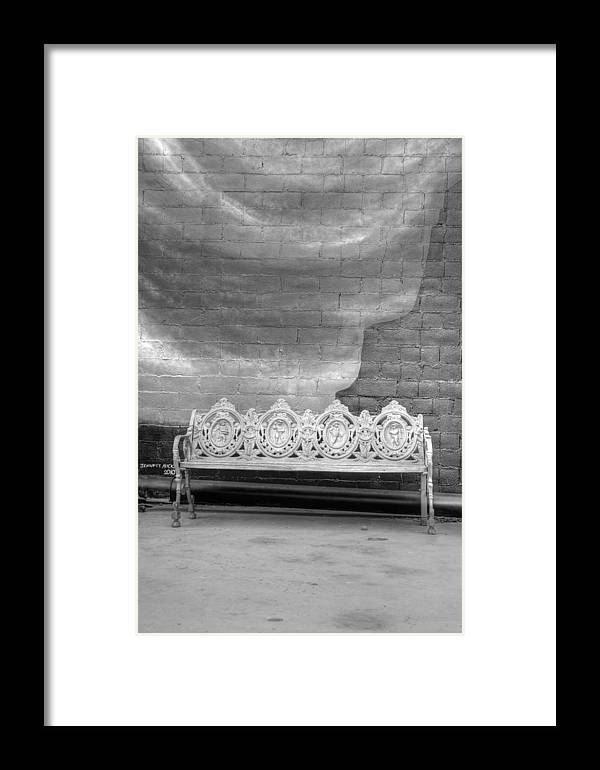 Black & White Film Framed Print featuring the photograph Bench by Dennis House