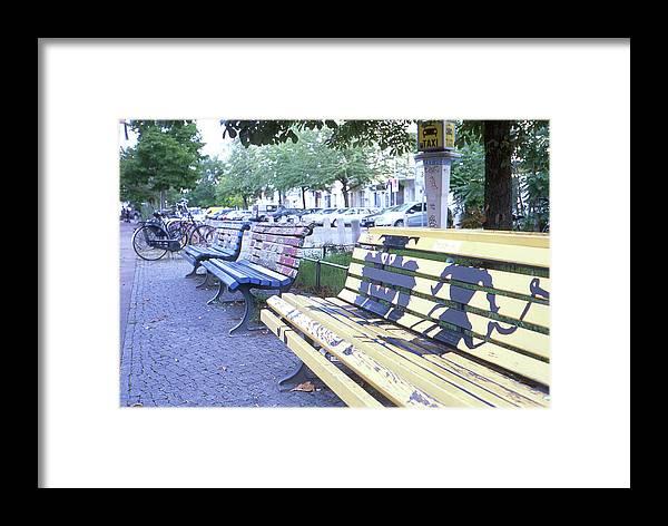 Bench Framed Print featuring the photograph Bench Graffiti by Nacho Vega