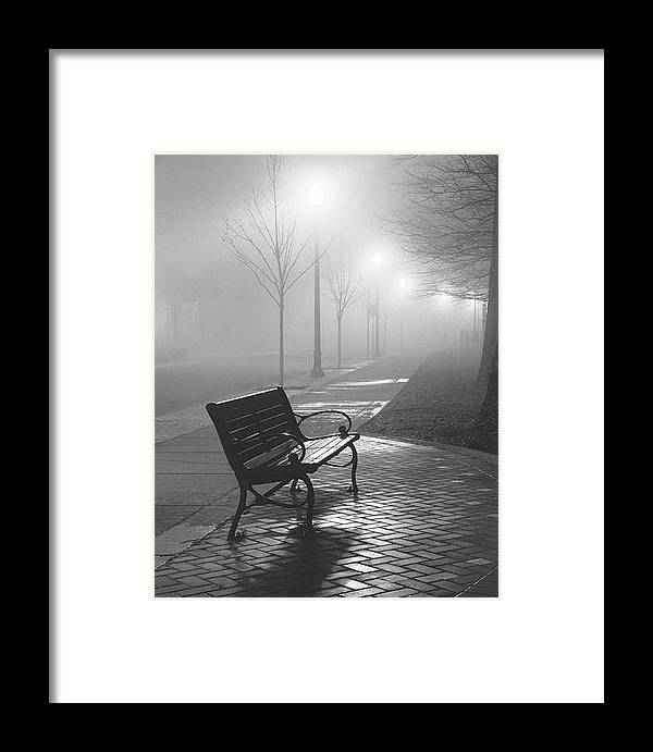 Fog Framed Print featuring the photograph Bench In The Mist by Rianna Stackhouse
