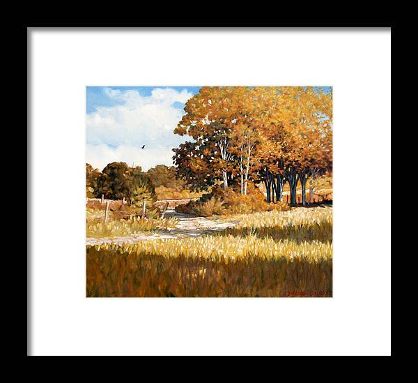Landscape Framed Print featuring the painting Bend In The Road by Kevin Lawrence Leveque