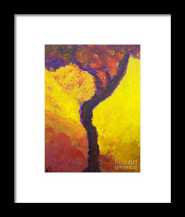 Bendy Tree Framed Print featuring the painting Bendy Tree by Laurette Escobar