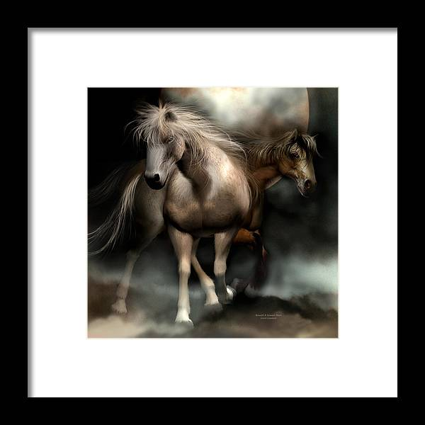 Horses Framed Print featuring the mixed media Beneath A Summer Moon by Carol Cavalaris