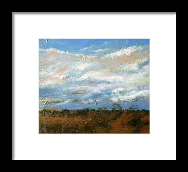 Landscape Framed Print featuring the painting Beneath Clouds II by LB Zaftig