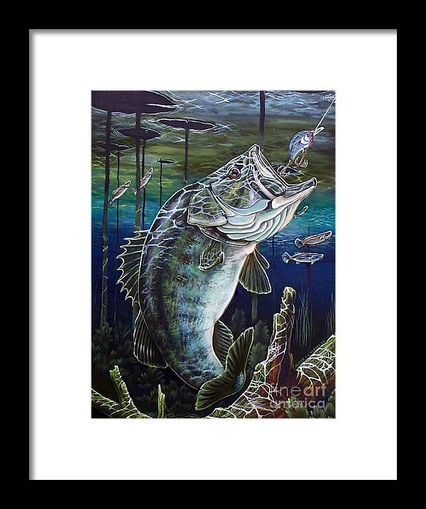 Bass Framed Print featuring the painting Beneath The Surface by Monica Turner