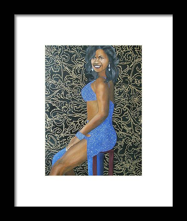 Portrait Framed Print featuring the painting Benita As A Dancing Star by Angelo Thomas