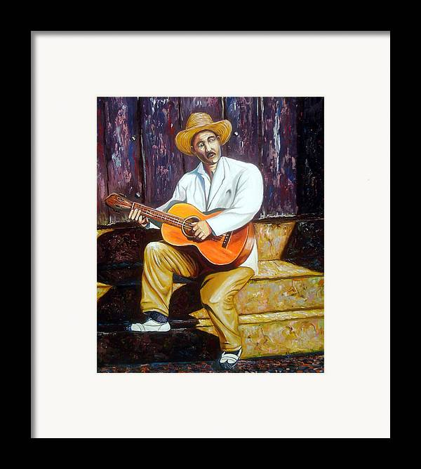 Cuban Art Framed Print featuring the painting Benny by Jose Manuel Abraham