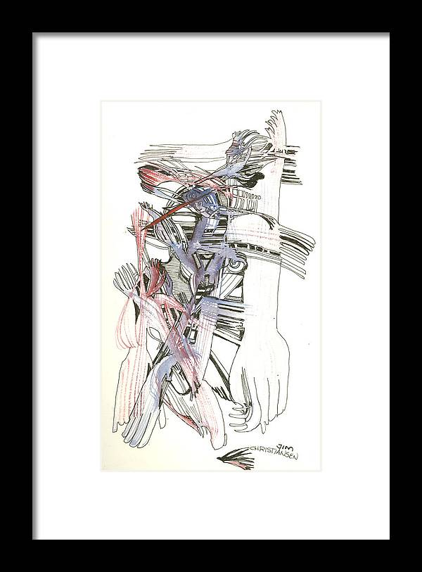 Forks Framed Print featuring the drawing Bent Forks In Hand by James Christiansen