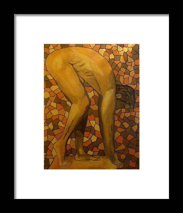 Nude Framed Print featuring the painting Bent by Mats Eriksson