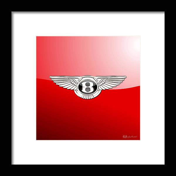 Wheels Of Fortune� Collection By Serge Averbukh Framed Print featuring the photograph Bentley 3 D Badge on Red by Serge Averbukh