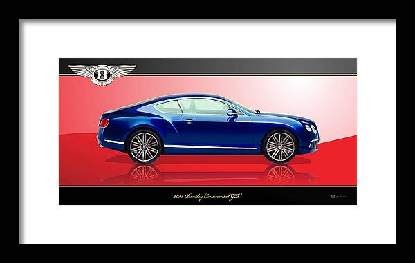 Wheels Of Fortune By Serge Averbukh Framed Print featuring the photograph Bentley Continental GT with 3D Badge by Serge Averbukh
