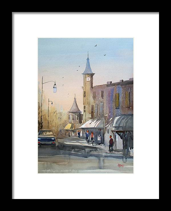Watercolor Framed Print featuring the painting Berlin Clock Tower by Ryan Radke