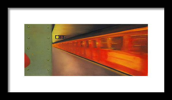 Subway Framed Print featuring the pastel Berlin Subway by Carrie Diaz