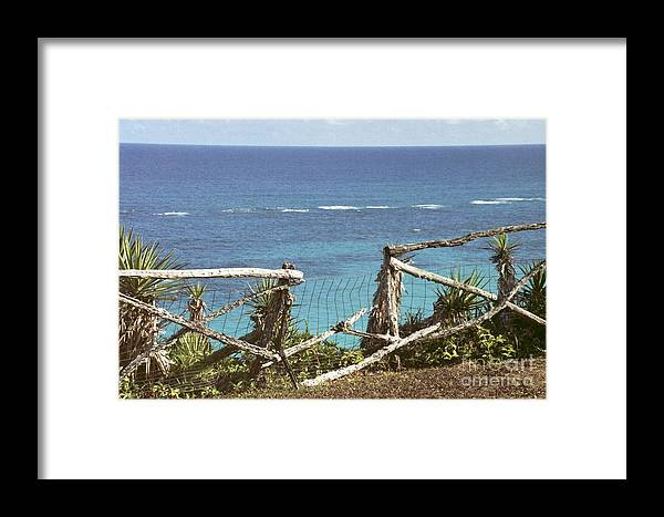 Bermuda Framed Print featuring the photograph Bermuda Fence And Ocean Overlook by Heather Kirk