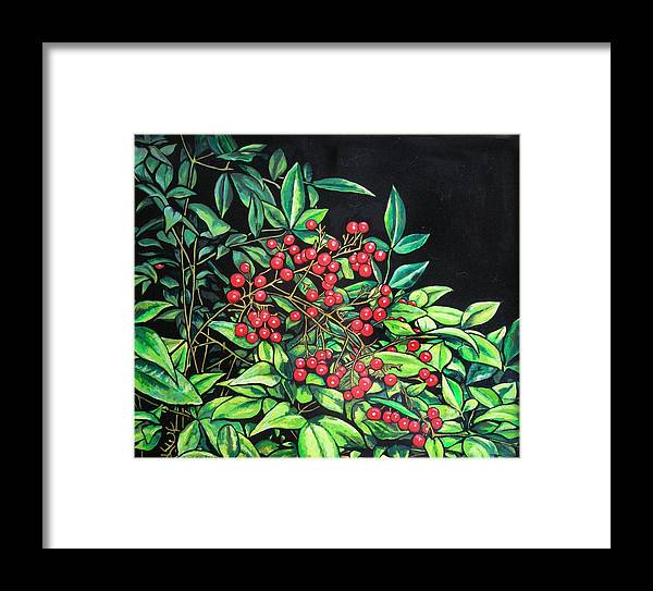 Foliage Framed Print featuring the painting Berries - Pyracantha by Olga Kaczmar