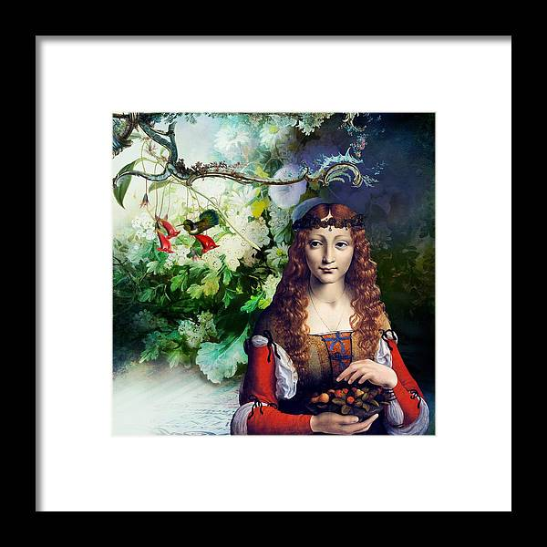Women Framed Print featuring the digital art Berries and Birds by Laura Botsford
