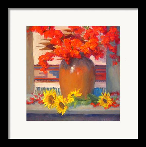 Still Life Framed Print featuring the painting Berry Bouquet by Bunny Oliver