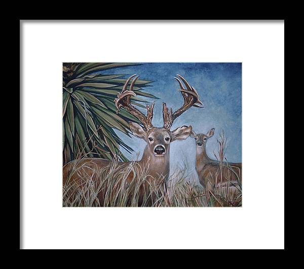 Deer Framed Print featuring the painting Berry Buck And Doe by Diann Baggett