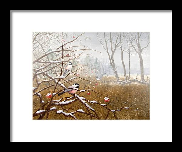Chickadees Framed Print featuring the painting Berry Good Friends by Sean Seal