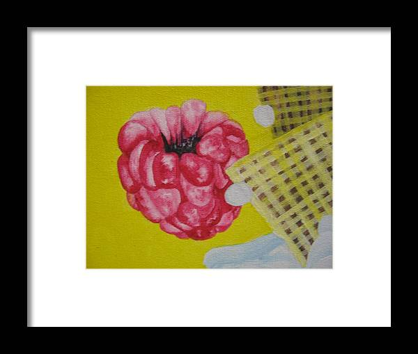 Rasberry Framed Print featuring the painting Berry Mix 1 by Theodora Dimitrijevic