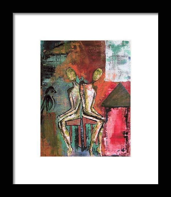 Figure Framed Print featuring the painting Beside Myself by Terrie Yeatts
