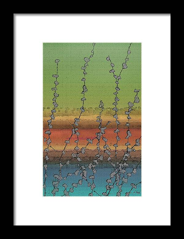 Contemporary Abstract Water Vines Nature Vibrant Green Orange Blue Gordon Beck Art Framed Print featuring the painting Beside Still Waters by Gordon Beck