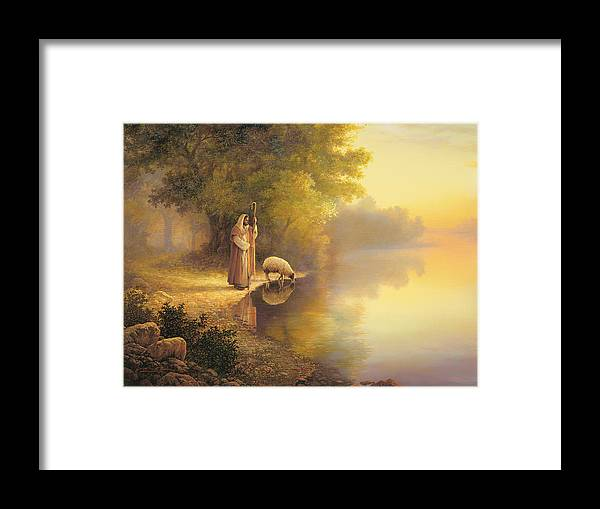 Jesus Framed Print featuring the painting Beside Still Waters by Greg Olsen