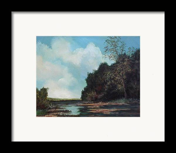 Original Acrylic Landscape On Canvas Framed Print featuring the painting Beside Still Waters by Sharon Steinhaus