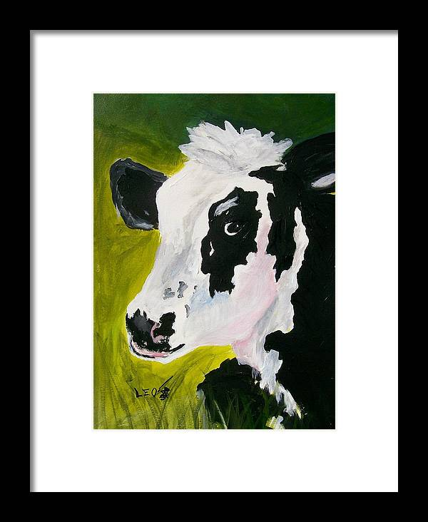 Cows Framed Print featuring the painting Bessy The Cow by Leo Gordon