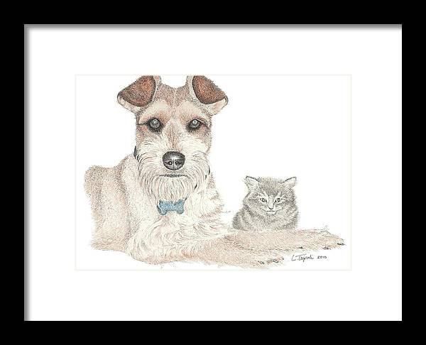 Pet Framed Print featuring the drawing Best Buddies by Lawrence Tripoli