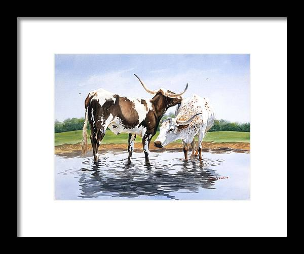 Longhorns Framed Print featuring the painting Best Friends by Howard Dubois