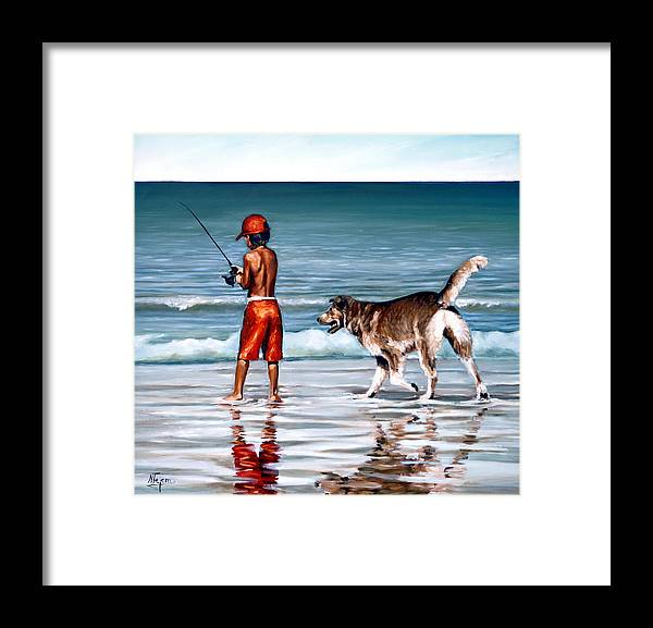 Child Framed Print featuring the painting Best friends II by Natalia Tejera