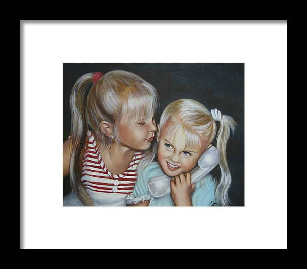 Portrait Framed Print featuring the painting Best Friends by Joni McPherson