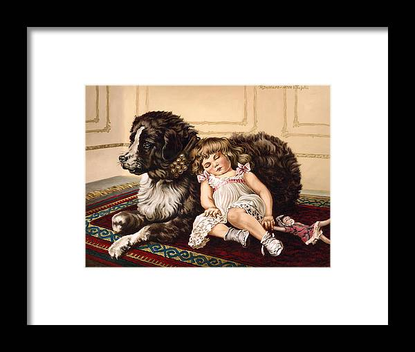 Victorian Framed Print featuring the painting Best Friends by Richard De Wolfe