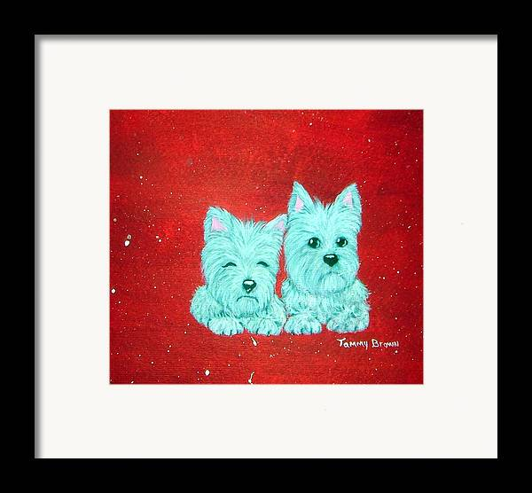 Westie Framed Print featuring the painting Best Friends by Tammy Brown