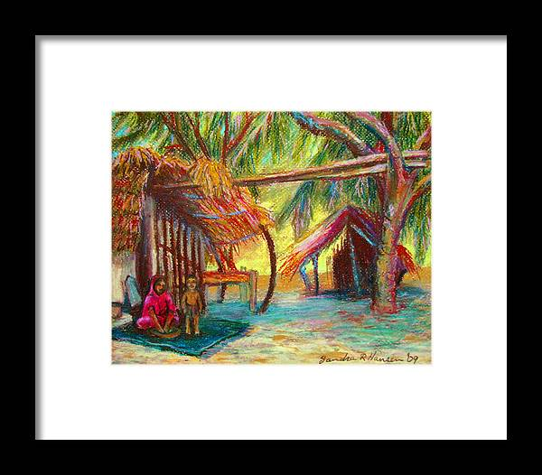 Oil Pastel Framed Print featuring the pastel Betawar Village Life by Art Nomad Sandra Hansen