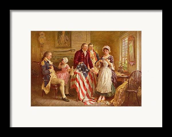 Betsy Ross Framed Print featuring the painting Betsy Ross 1777 by Jean Leon Gerome Ferris